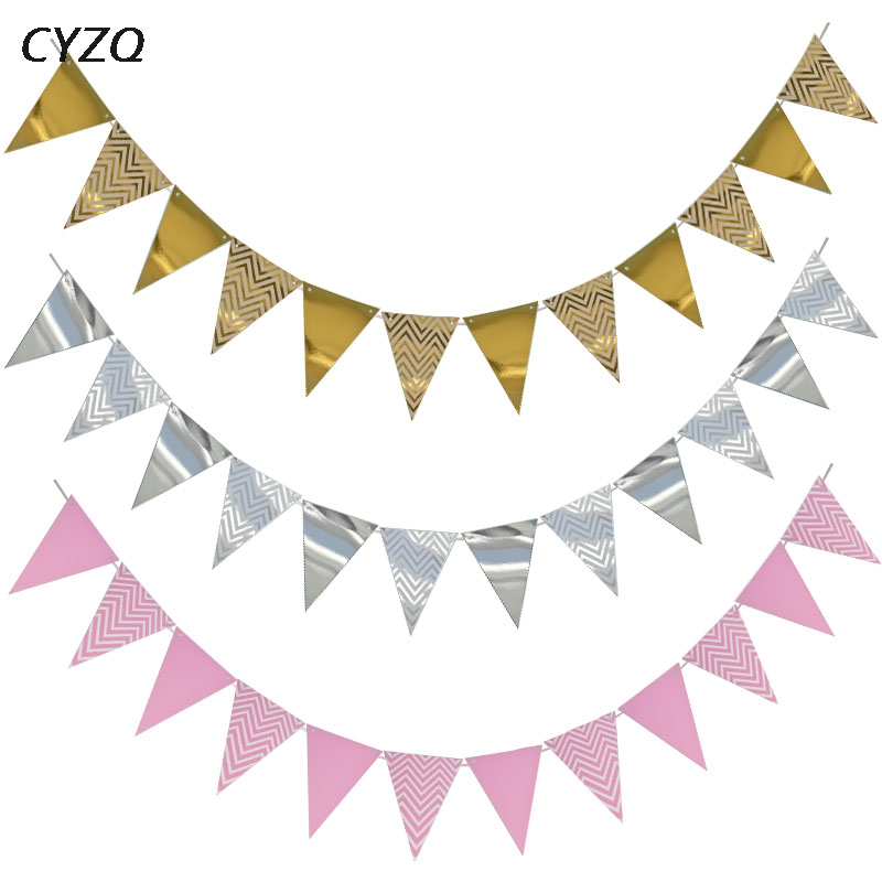 15 Flags Paper Glitter Gold Bunting Banner Garland Wedding Party Hanging