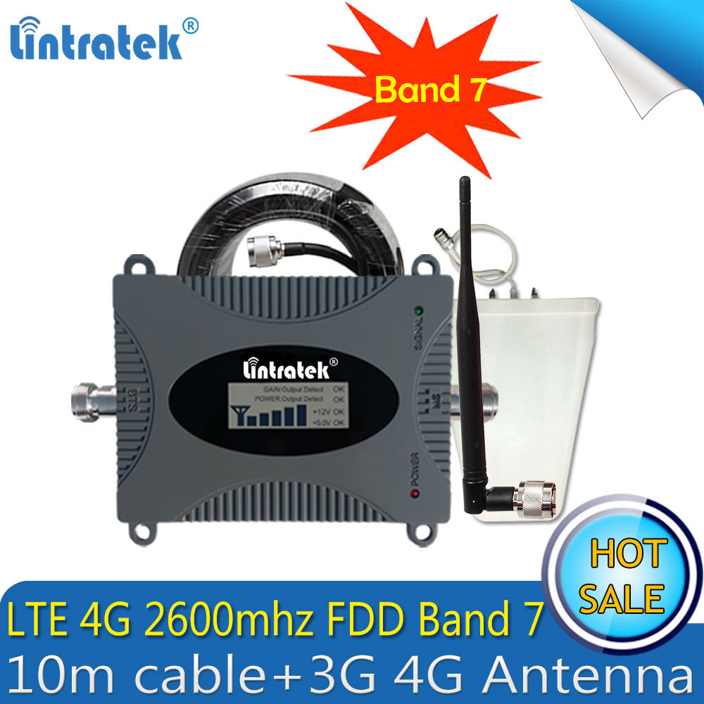 4G LTE Cellulaire répéteur de Signal 4G LTE Bande 7 2600 Mhz Mobile Signal Booster téléphone portable amplificateur de Signal Avec 4G antennes Câble