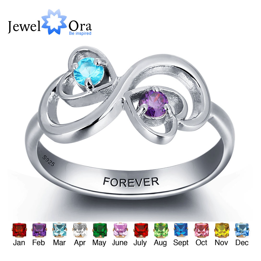 e1c802da6f Personalized Engrave Birthstone Jewelry Heart Stone Name Ring 925 Sterling  Silver infinity Love Rings (JewelOra RI101959)