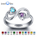 Personalized Engrave Birthstone Jewelry Heart Stone Name Ring 925 Sterling Silver infinity Love Rings (JewelOra RI101959)