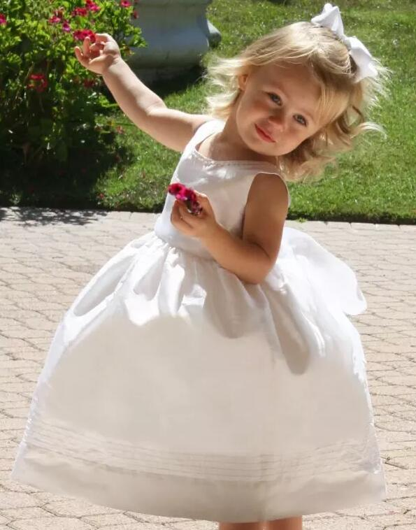 New White Solid Baby Girls Dress Ball Gown V Back with Sash Girls Dresses Custom Any Size Free Shipping 4pcs new for ball uff bes m18mg noc80b s04g