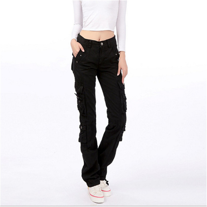 High Quality Cargo Pants Women Military Style Multi Pockets Carmo Trousers Plus Size Baggy Pants <font><b>A1136</b></font> image