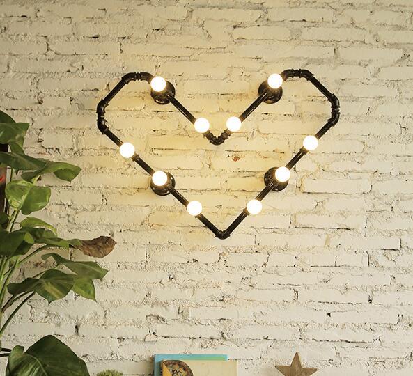 Acqua parete camera da letto luci prodotto negozio di abbigliamento bar LOFT industriale lampada creativa tubi di Acqua a forma di cuore ligh ZA