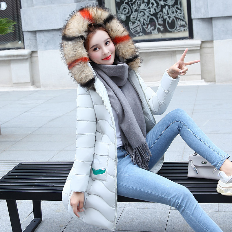 Fit blanc Slim Parkas Vêtements À Manteau Capuchon noir Red gris Marée R1703Nouvelle Mode De Femmes Coton rembourré D'hiver Long Orange rose wOn0Pk8