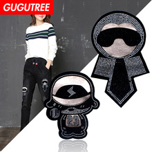 GUGUTREE embroidery rhinestone big man patches bear badges applique for clothing XC-278