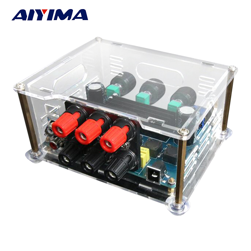 Aiyima mega bass 2.1 Digital Amplifier TPA3116D2 Stereo DC12V-24V Subwoofer AV Audio Amplifier board High Power output 200W aiyima 12v tda7297 audio amplifier board amplificador class ab stereo dual channel amplifier board 15w 15w
