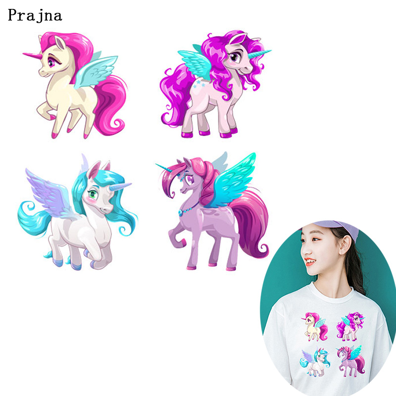 Heart unicorn clothes patches heat transfer sticker printing iron on appliques M