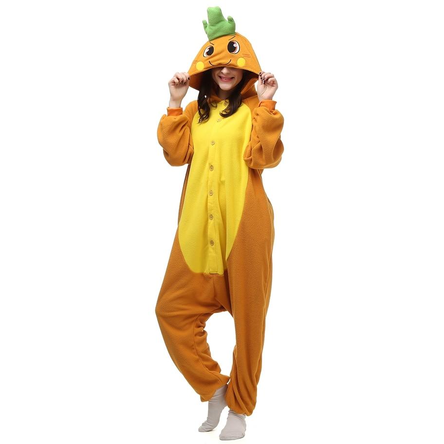 Morot Polar Fleece Kigurumi Kostym Kvinnor Mäns Jumpsuit Halloween Party Cosplay Kostymer För Vuxna