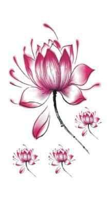 15pcs/lot Waterproof Temporary Tattoo Sticker sexy pink Lotus tattoo for girl tatto stickers flash fake tattoos flower Body Art