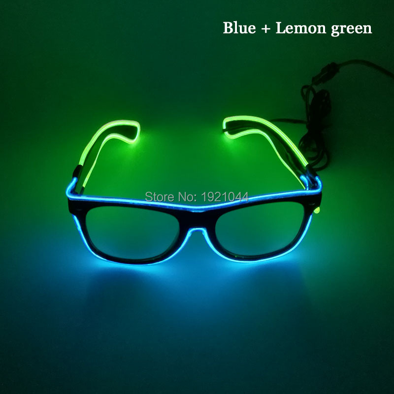 2017 Newest Powered By DC-3V 50pcs Flashing EL Wire 5 style Double color Glasses Cold Light Flexible Neon Party Decoration