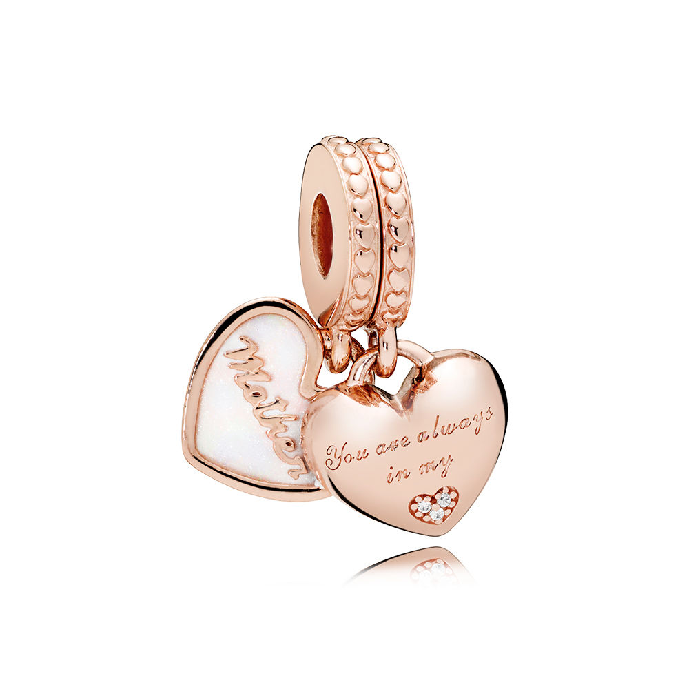 Authentic S925 Sterling Silver Diy Jewelry Mother Daughter Hearts Dangle Charm Fit Pandora Bracelet Bangle Rose Gold Color Bead In Beads From