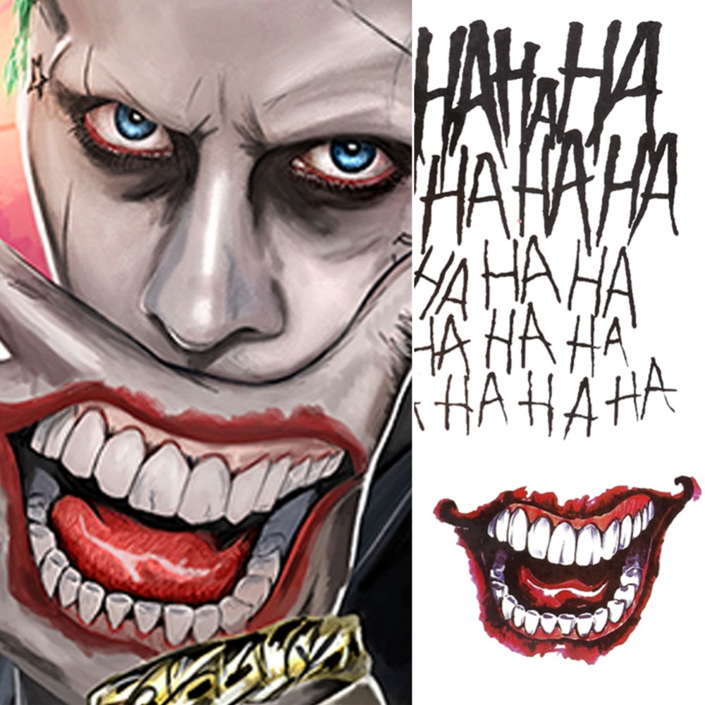 4 Styles Halloween Cosplay The Joker Temporary Tattoo Stickers Body Art Tattoos For Face Arm 20X29.6cm #255337