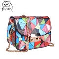 UKQLING Colorful Flap Candy Color Women Bag for Girl Small Corssbody Bag with Long Chain Handbag Hasp Lock Sac A Main Purse