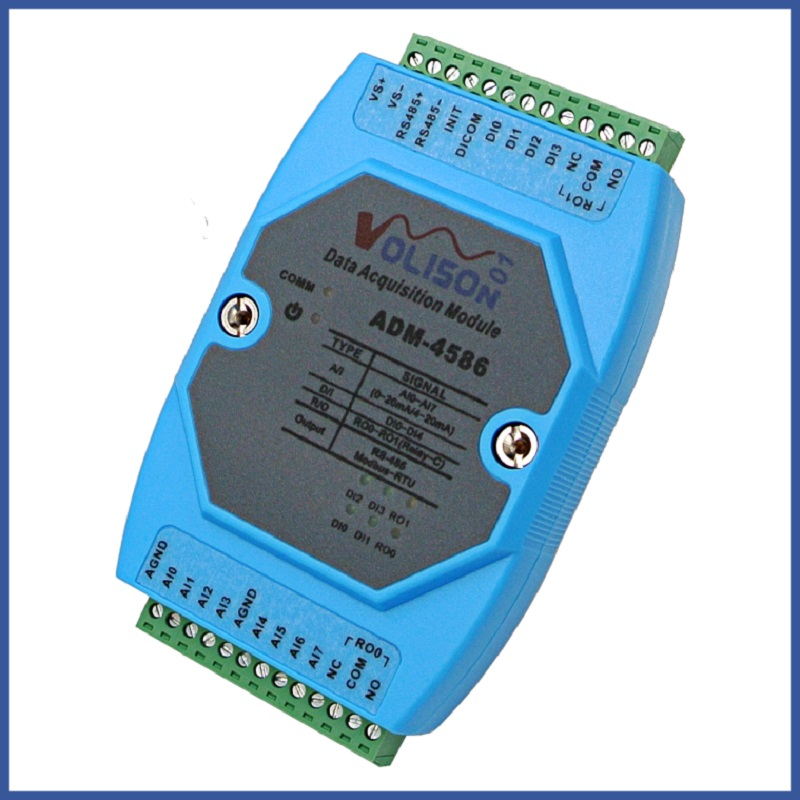 8-way 0/4-20 mA current acquisition 4-way switch input 2-way relay output IO acquisition module RS485