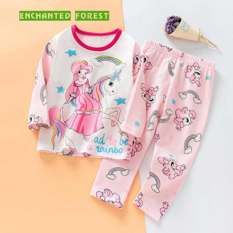 Girls Pajamas Set Spring Autumn Childrens Girl Cartoon Fashion Unicorn Baby Long Sleeve Tops Trousers