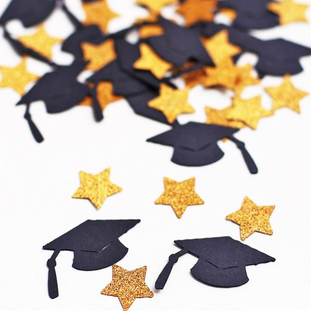 c08 Graduation Cap and Stars Confetti Graduation Party Decorations Gold and black party decor graduation decor