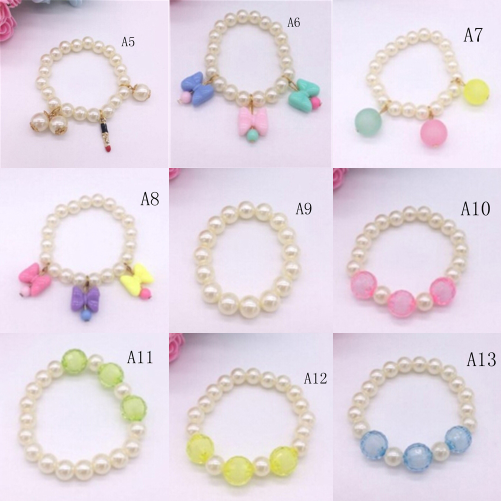 1PC Simulated Pearl Bead Baby Girl Bracelet Bowknot Shape Acrylic Bracelet Bangle Jewelry For Children Fashion