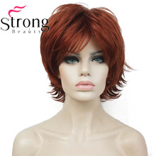 StrongBeauty Short Layered Shaggy Copper Red Full Synthetic Wig Womens Wigs COLOUR CHOICES