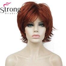 StrongBeauty ショートレイヤードシャギー銅赤フル合成かつら女性のかつらカラー選択肢