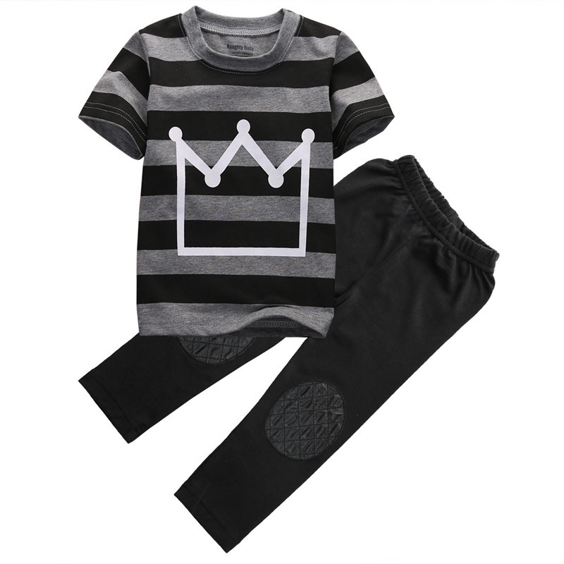 Crown pattern US Toddler Kids Baby Boys Outfit T-shirt Tops+Long Pants 2pcs Summer Clothes Set image
