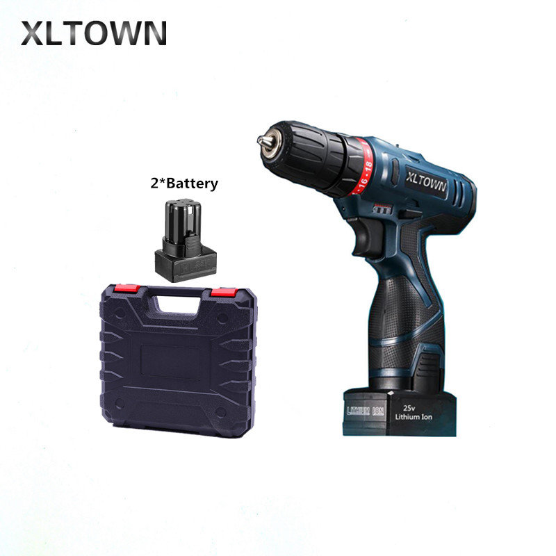 Xltown 25v two-speed 2*battery rechargeable lithium battery electric screwdriver with a Plastic box packaging electric drill xltown 25v two speed 2 battery lithium battery electric screwdriver with a plastic box packaging 27pcs drill bit electric drill