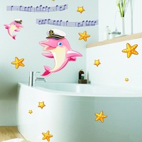 Music Cartoon Dolphin Nursery Children S Room Bathroom Glass Decorative Wall Stickers