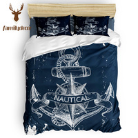 Family Decor Nautical Anchor Deep Blue Abraham Birthday St. Valentine's Day Quilted Duvet Set California King Comfor