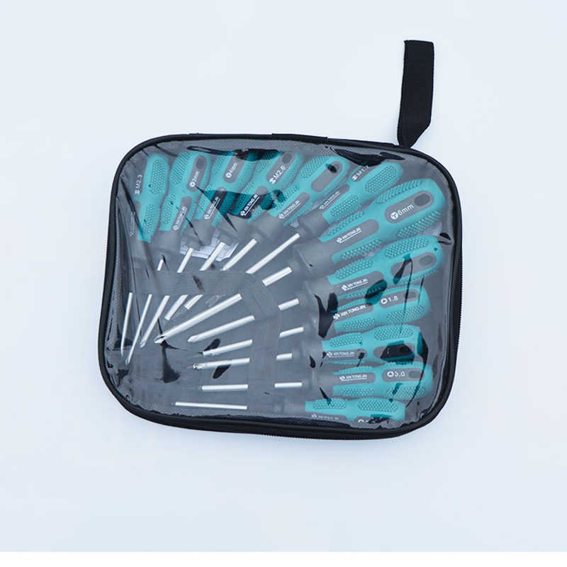12Pcs/Set Insulated PP Handle Screwdriver Kit Multi-function Screw Drivers Home Electrician Manual Repair Tools with Storage bag