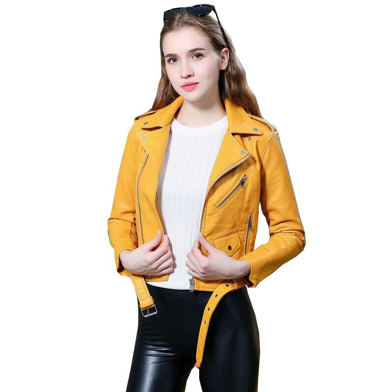 New Autumn Fashion Street Women's Short Washed PU   Leather   Jacket Zipper Ladies Basic Jackets Good Quality s1029