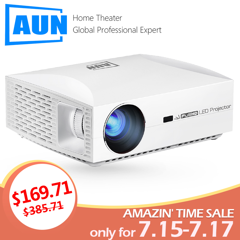 AUN Full HD Projektor F30UP, 1920x1080 P. Android 6.0 (2G + 16G) WIFI, FÜHRTE MINI Projektor für Heimkino, unterstützung 4K video Beamer