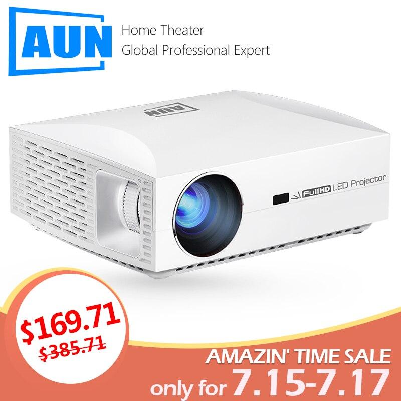 AUN projecteur Full HD F30UP, 1920x1080 P. Android 6.0 (2G + 16G) WIFI, mini projecteur LED pour Home cinéma, Support vidéo 4K