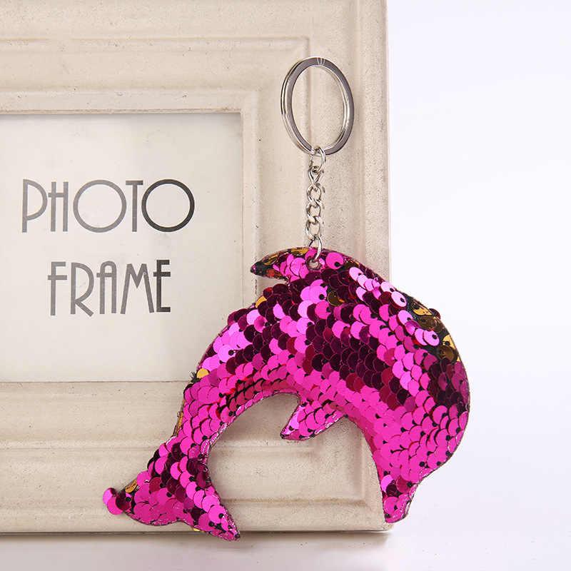 Милый блестящий брелок с дельфином модная Русалка Блестки Животных Блесток брелки для ключей для женщин автомобиль сумка кулон ювелирные изделия