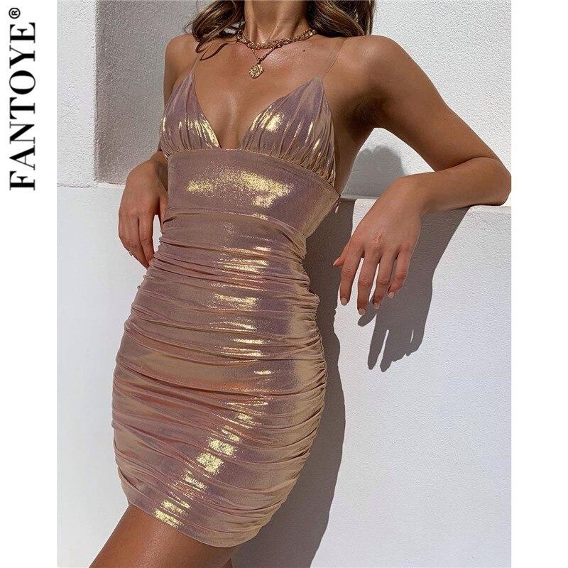 Fantoye Women Sexy Metal Color Mini Party Dress Summer Pink Glitter Bodycon Dress Shiny Slim Backless Nightclub Dresses Vestidos