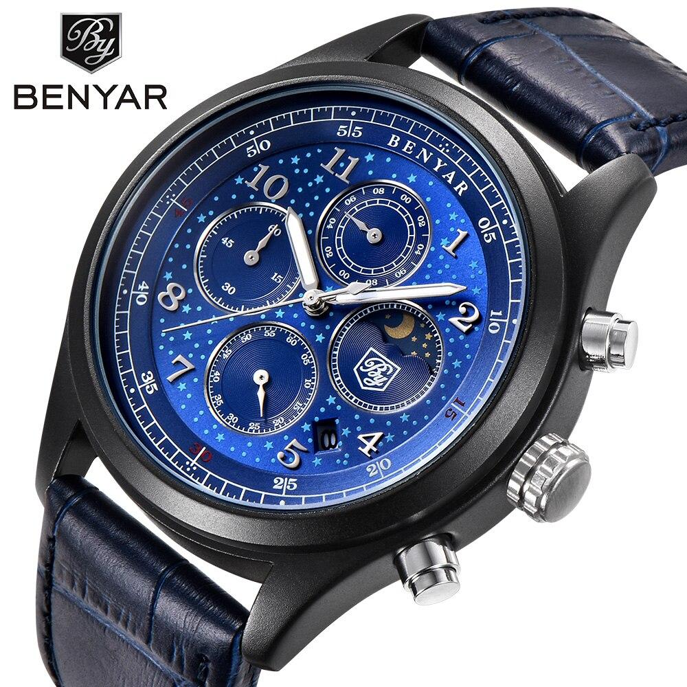 BENYAR Mens Watches Top Brand Luxury Waterproof Moon Phase Date Quartz Watch Man Leather Sport Wrist Watch Men Waterproof Clock benyar moon phase chronograph watch men