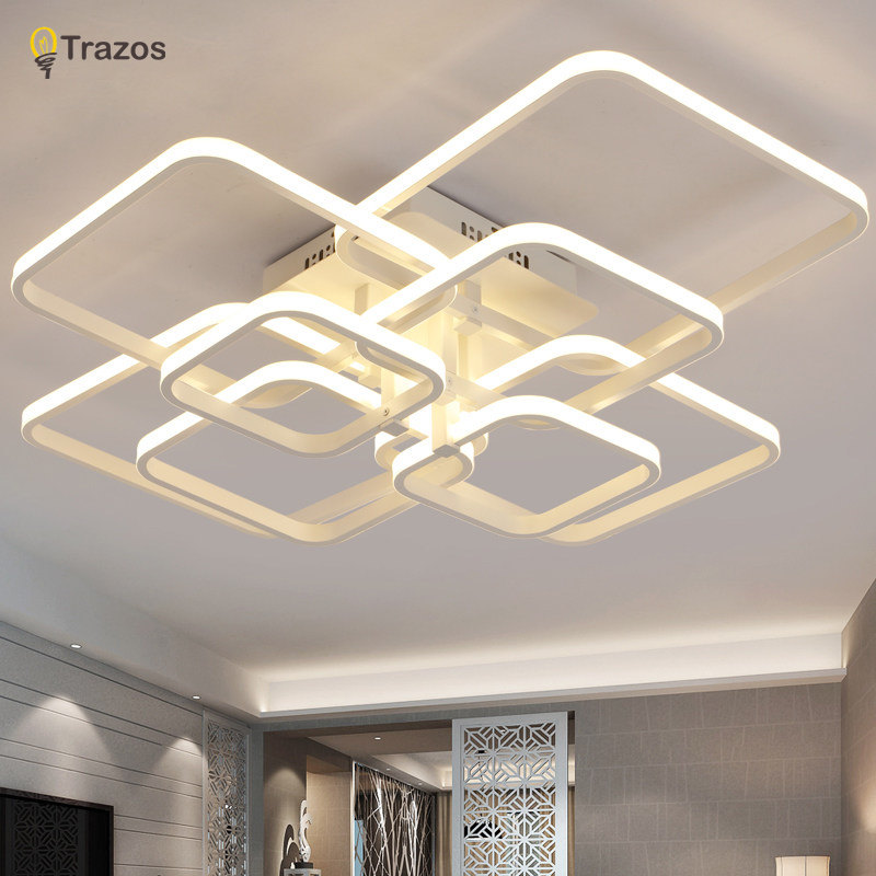 Trazos 2017 Rectangle Acrylic Aluminum Modern Led ceiling lights for living room bedroom AC85-265V White Ceiling Lamp Fixtures noosion modern led ceiling lamp for bedroom room black and white color with crystal plafon techo iluminacion lustre de plafond