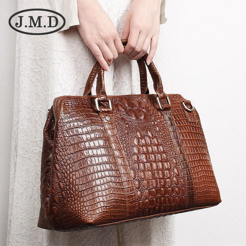 J.M.D High Quality Leather Alligator Pattern Women Handbags Dufflel Luggage Bag Fashoin Men's Travel Bag Shoulder Bag 6003B|Travel Bags|   - title=