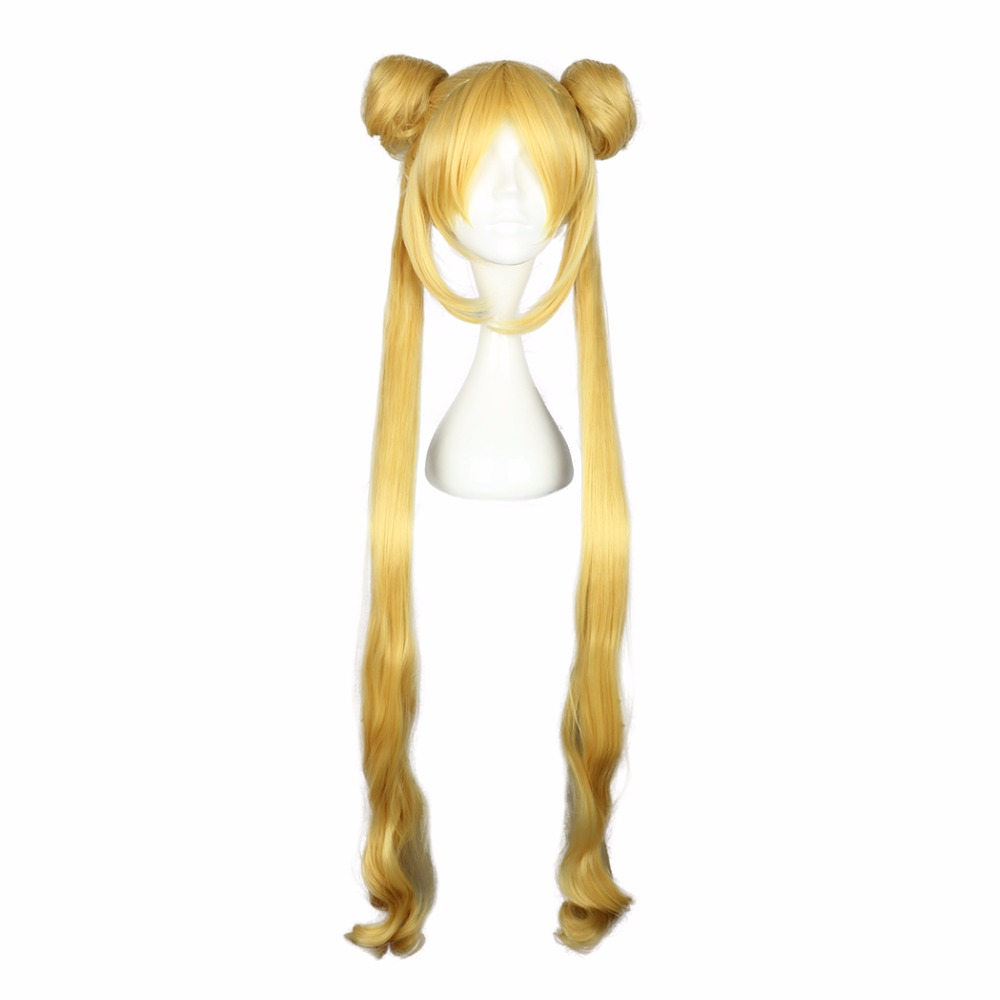Mcoser 100cm Golden Color Synthetic Cosplay Party Wig 100