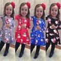 4 colores Del Otoño Niños Ropa de la Historieta del Muñeco de Nieve de Navidad Impresas FROCK Diseño Vestido Para Las Muchachas del Boutique Niñas Año Nuevo Vestido