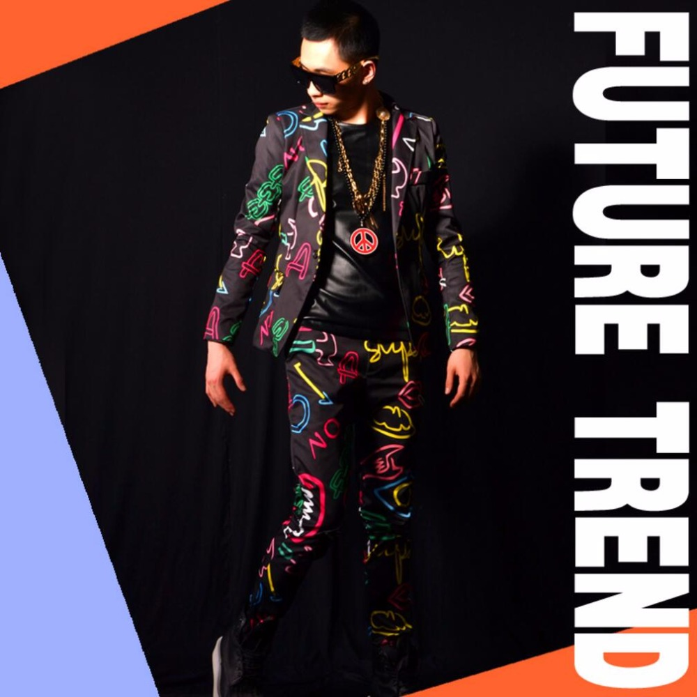 GD Bigbang Costumes Super Fit Slim néon couleur Blazer hommes discothèque Bar chanteurs scène formelle robe hommes bal costume veste Costumes!