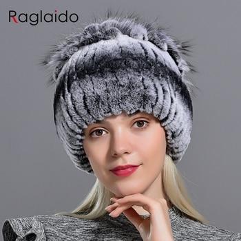 Raglaido Fur Hats for Women Winter Real Rex Rabbit Hat Fox fur kniting female warm snow caps ladies elegant princess beanies cap