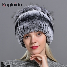 Raglaido Fur Hats for Women Winter Real Rex Rabbit Hat flora