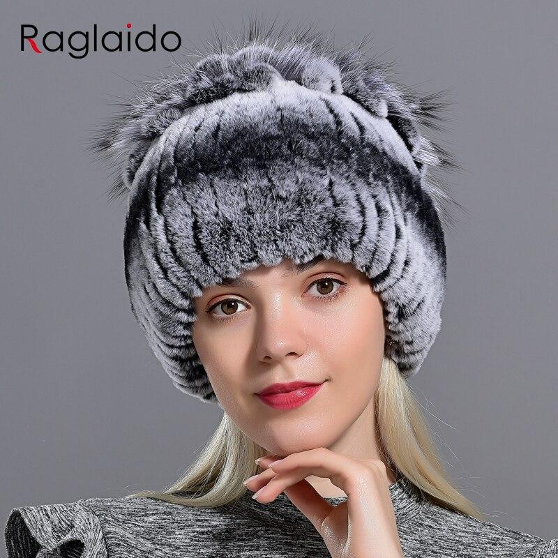 Raglaido fourrure chapeaux pour femmes hiver réel Rex lapin chapeau à fleurs tricot femelle chaud neige casquettes dames élégant princesse chapeau LQ11299