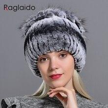 Raglaido futrzane czapki dla kobiet zima prawdziwe królik Rex kapelusz futra lisa kniting kobiet ciepłe śnieg czapki damskie eleganckie księżniczka czapki czapka