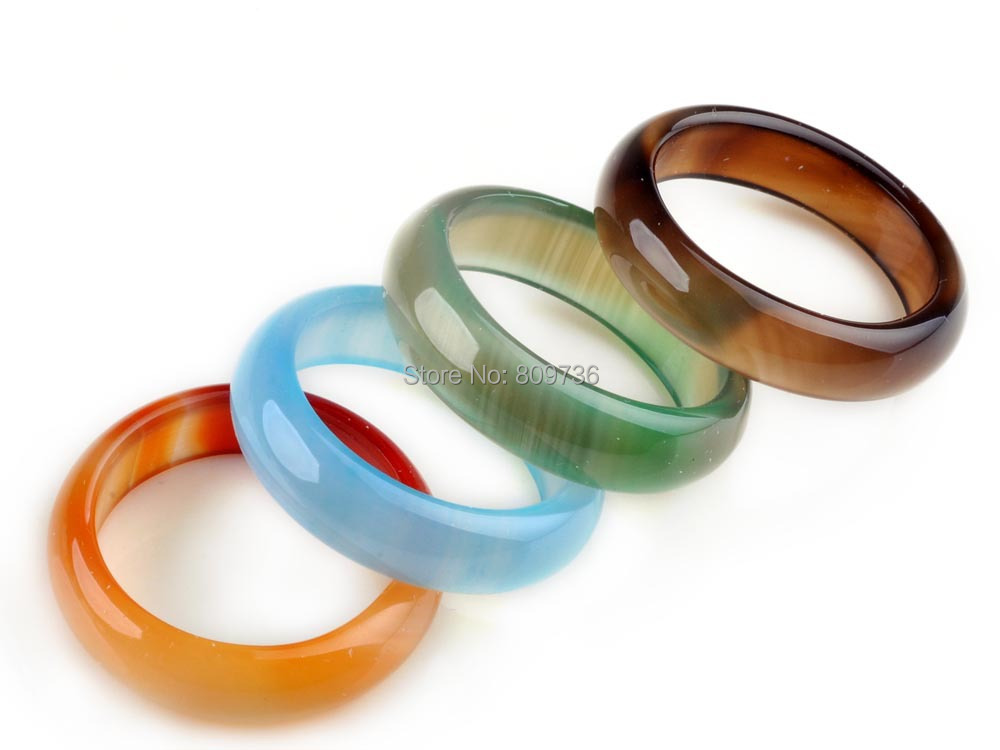 20pcs multicolour jade agate ring charm band