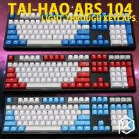 Taihao abs duplo tiro keycaps para diy gaming teclado mecânico backlit tampões oem perfil luz através