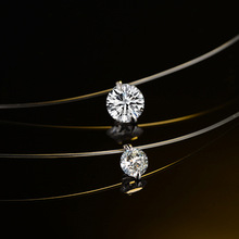 Silver color Dazzling Zircon Necklace And Invisible Transparent Fishing Line Simple Pendant Necklace