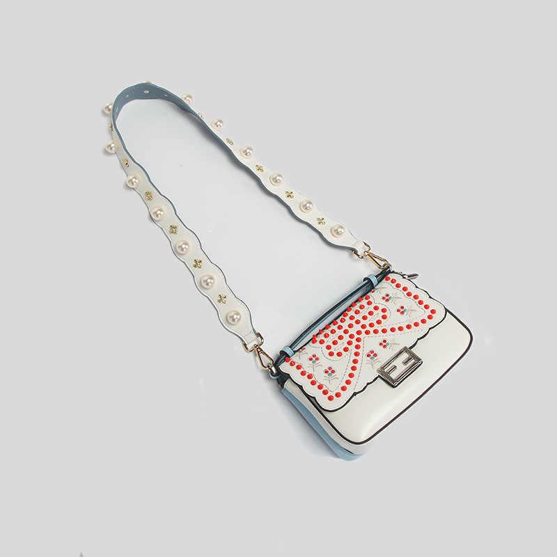 Новые кожаные ремни для сумок жемчужная сумка с заклепками ремень Женская Регулируемая сумка через плечо аксессуар кожаный ремень через плечо