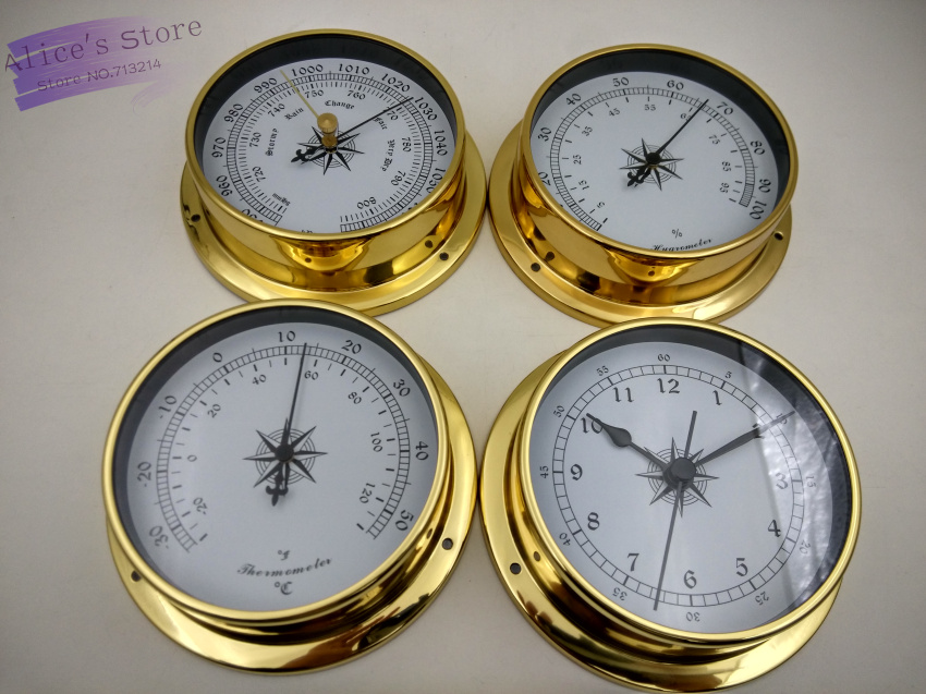 4 pcs/set Brass Case Traditional Weather Station Barometer Temperature Hygrometer Humidity and Clock (White Dial) 115mm B9115