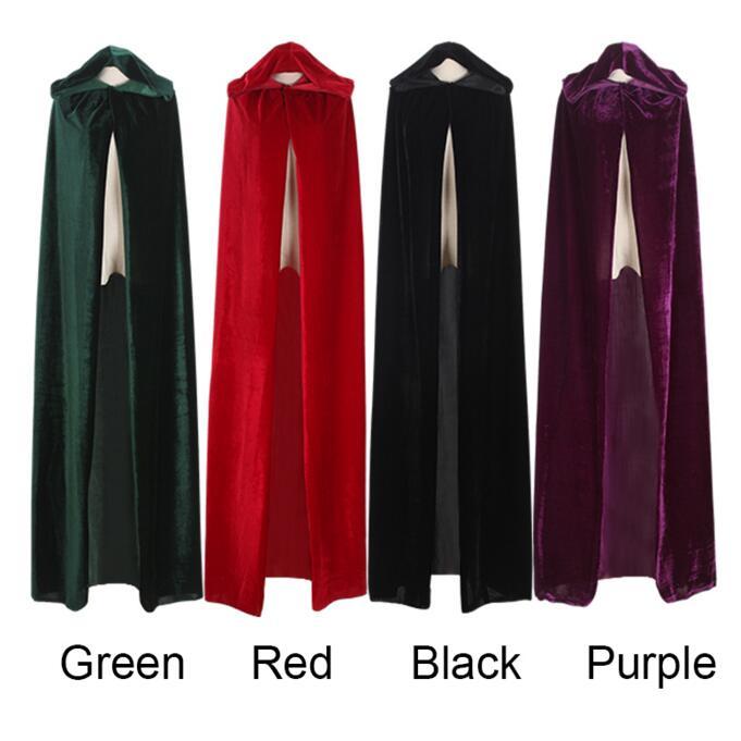 Adultos elfo bruja largo púrpura verde rojo negro Purim carnaval Halloween capas Hood y capas disfraces de Halloween para Mujeres Hombres