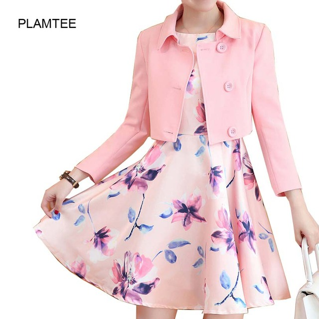 Elegant Autumn Ladies Suits Short Coats + Mini Dress Single Breasted Long Sleeve 2 Pcs Sets A Line Dresses for Women with Print